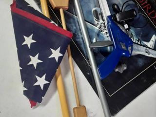 lot of just Miscellaneous Items  American Flag  Grabbers  and Back Scratcher and a Calendar