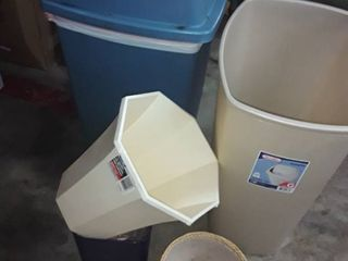 5 Trash Cans  Various Sizes