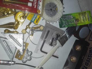 lot of Miscellaneous Home Improvement Needs i e  tape  hinges  fuses  window locks  spring door stop and many other miscellaneous items