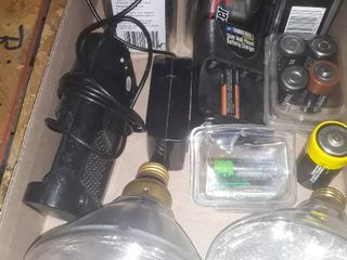 lot of Batteries and 2 Flood light Bulbs