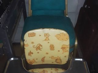 4 Retro Turquoise Colored Chairs with a Vintage High Chair  All can be reupholstered