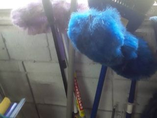 lot of Brooms and Dusters and Fly Swatters