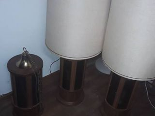 3 Retro lamps 1 hangs from ceiling and the other two are table tops