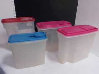 Tupperware and Rubbermaid Cereal Canisters with lids lot of 4