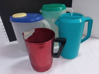 Vintage Regal Supreme Red Pitcher with Sterilite and Rubbermaid Pitchers lot of 4