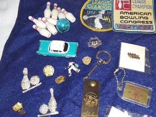 Jewelry lots  Bowling Memorabilia i e lapel Pins and Patches