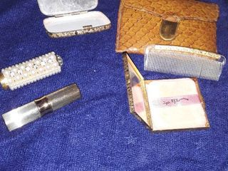 Jewelry lots Vintage Vanity Accessories  Make up mirrors lipstick Holders Comb and Case  Smaller mirror is broken