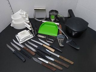 Assorted Kitchen Tools and Steak Knives