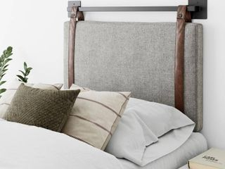 Nathan James Harlow 36 in  Twin Wall Mount Gray with Adjustable Straps and Black Metal Rail Upholstered Headboard  Gray Brown