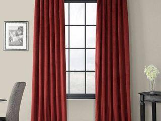 Pair of Exclusive Fabrics Signature Burgundy Velvet Blackout Curtain Panel