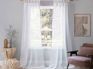 PAIR OF 95 x50  Bethany Slub Textured linen Blend Sheer Tie Top Curtain Panel White   No  918
