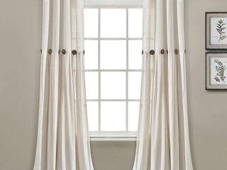 PAIR OF lush Decor linen Button Single Panel Window Curtain