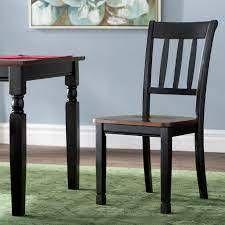 Pair of Carrol ladder Back Side Chair in Black  Brown