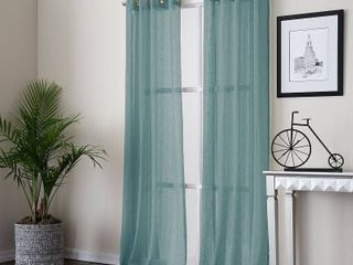 PAIR OF Payton 52  x 63  Panel Solid Color Semi Sheer With An Open Hemstitch Vertical Stripe