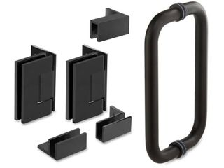 59 25  x 76  Hinged Frameless Shower Door Handle and Hinges
