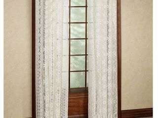 PAIR OF White   84 l  luxurious Old World Style lace Window Curtain Panel