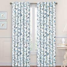 PAIR OF Blue   84 Inches  Waverly Carolina Crewel Curtain Panel