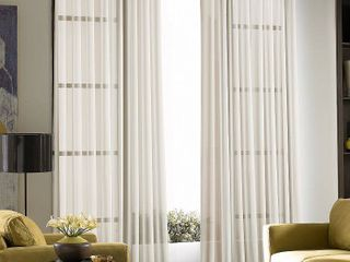 PAIR OF 59 x 132   Oyster  Solid Soho Sheer Grommet Single Curtain Panel