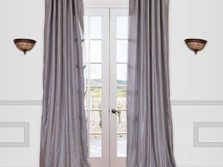 Pair of Half Price Drapes Vintage Textured Faux Dupioni Rod Pocket Curtain Panel