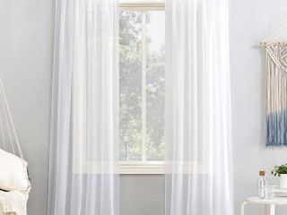 PAIR OF 95 x59  Emily Sheer Voile Rod Pocket Curtain Panel White   No  918