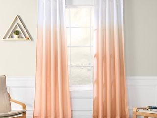PAIR OF Exclusive Fabrics Ombre Faux linen Semi Sheer Curtain