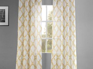 PAIR OF Exclusive Fabrics Normandy Printed Faux linen Sheer Grommet Top Curtain Panel