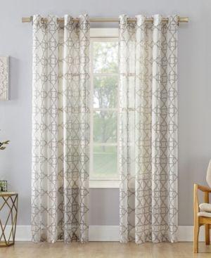PAIR OF No  918 Powell Trellis Sheer Grommet Curtain Panel