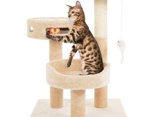 PETMAKER 27 5 in Cat Tree   Condo Scratching Post Tower  Beige