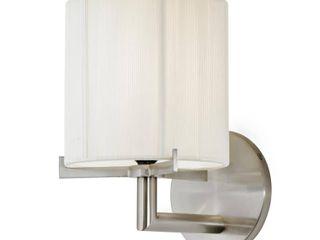 Sonneman lighting Boxus 1 light Satin Nickel Round Sconce   Silver