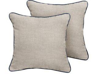 Humble   Haute Sunbrella Cast Silver Indoor Outdoor Corded Pillow Set of 2 Retail 90 54