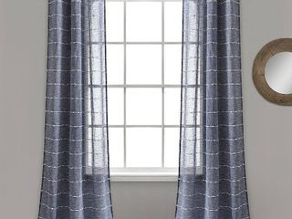 lush Decor Farmhouse Textured Grommet Sheer Window Curtain Panel Pair   84  x 38    84  x 38