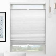 Pair of Top Down Bottom Up Semi Sheer White Cordless Cellular Shades 32in x 60in