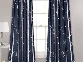 PAIR OF Bird On The Tree Room Darkening Window Curtain Navy Set 52x84 2