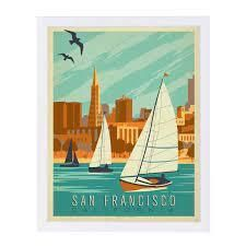 San Francisco Sailboats Framed Vintage 11x14