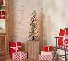Bethlehem lights 3 foot Slim Flocked Downswept Decorator Tree Clear