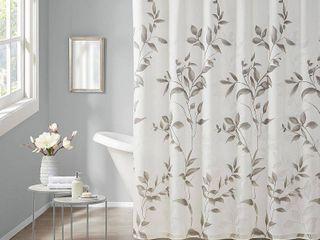 Rosalie Burnout Printed Shower Curtain Gray