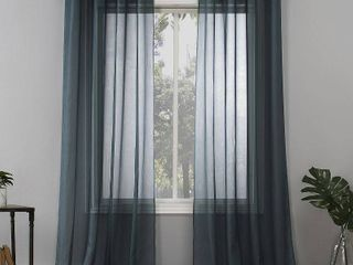 PAIR OF 84 x59  Emily Sheer Voile Grommet Top Curtain Panel Teal   No  918