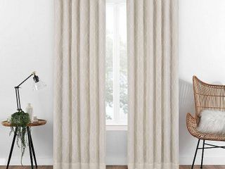 PAIR OF Eclipse Nora Geo Embroidery Absolute Zero Blackout Window Panel