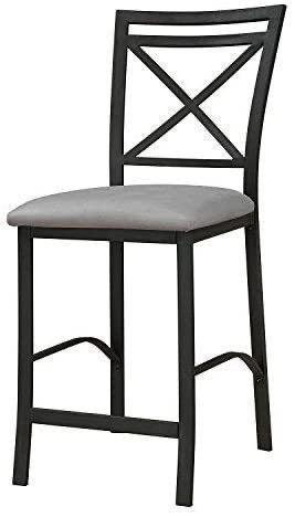 Dorel living Devon Crossback Counter Height Dining Chair  Black Coffee   Gray