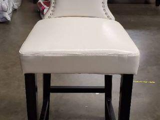 Kings Studded Bonded leather Bar Stool  White