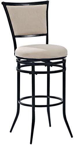 Crosley Furniture Rachel Swivel Bar Stool  30 inch  Black with Beige Cushion