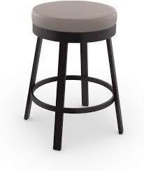 Amisco Clock Swivel Metal Counter Stool  26 Inch  Dark Brown Metal and Warm Grey Polyurethane