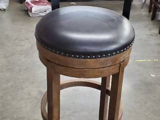 Scarlett Brown Wooden Counter Stool with Faux leather Seat