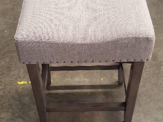 Rumford Saddle 24  Counter Stool  Grey linen
