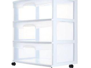 Sterilite 29308001 3 Drawer White Wide Storage Drawer Cart