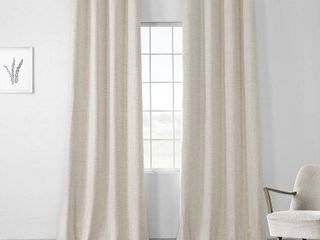 PAIR OF Exclusive Fabrics Vintage Thermal Cross linen Weave Max Blackout Grommet Curtain