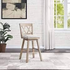 Pair of Wooden Swivel Stool with linen Cushion  Retail 142 99