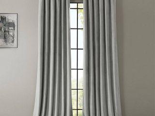 PAIR OF Exclusive Fabrics Signature Silver Grey Velvet Blackout Curtain Panel