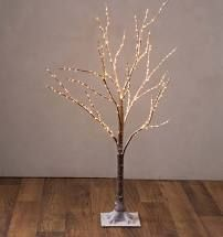 Indoor  Outdoor 4 ft Birch Tree with lights and Remote by Valerie Brown