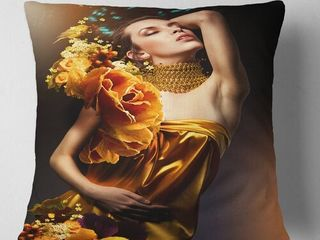 Yellow Brown Digital Art Portrait Woman Throw Pillow 18  X 18
